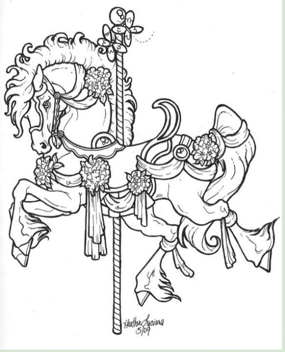 Carousel Horse Horse Coloring Pages Horse Coloring Coloring Pages
