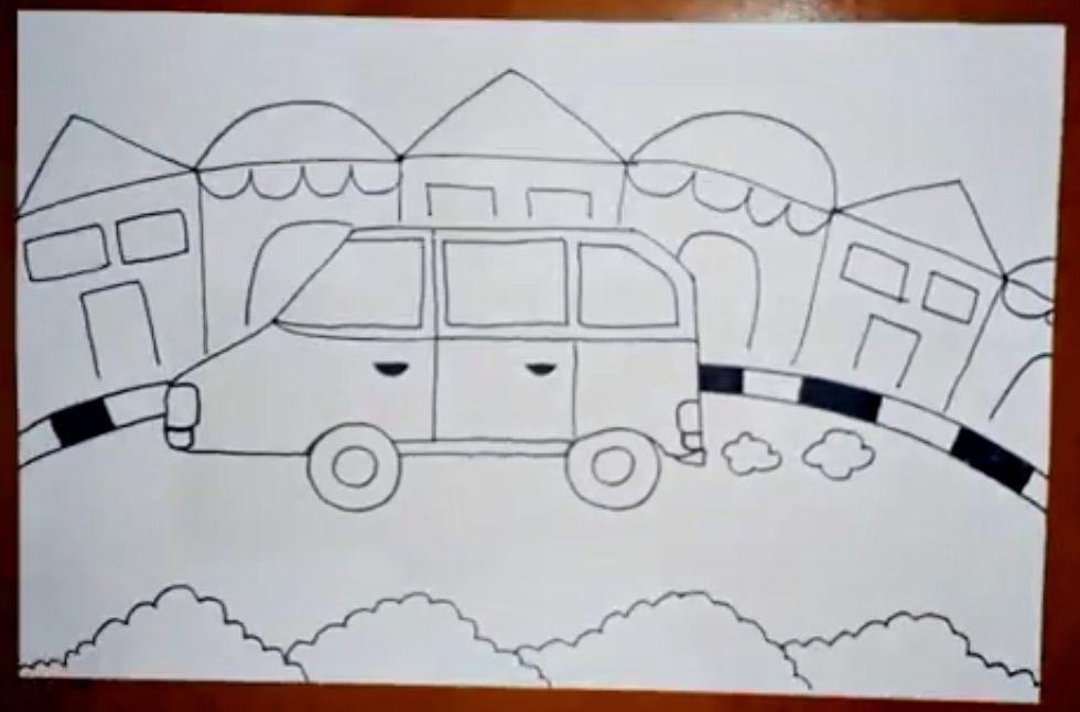 Menggambar Mobil Drawing Car Drawing Painting Seni