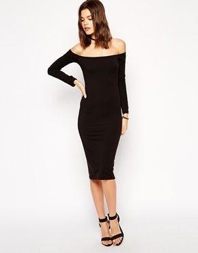 25+ Black long sleeve bardot midi dress ideas in 2021
