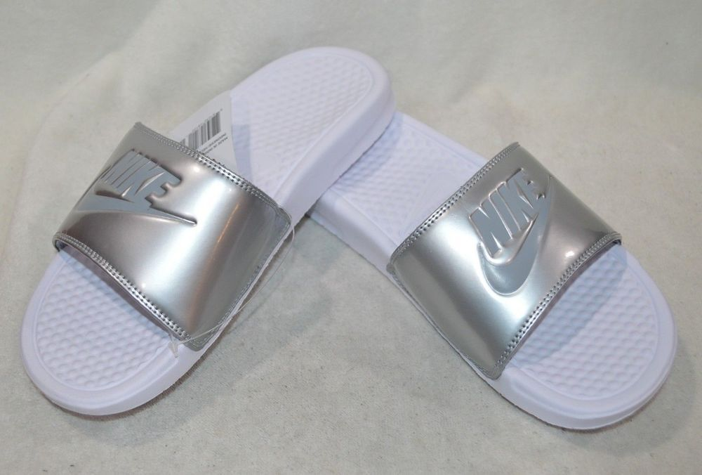 1ccf38791901 Nike Benassi JDI White Grey Silver Women s Slides Sandals - Size 7 8 9 10 11  NWB  fashion  clothing  shoes  accessories  womensshoes  sandals (ebay link)
