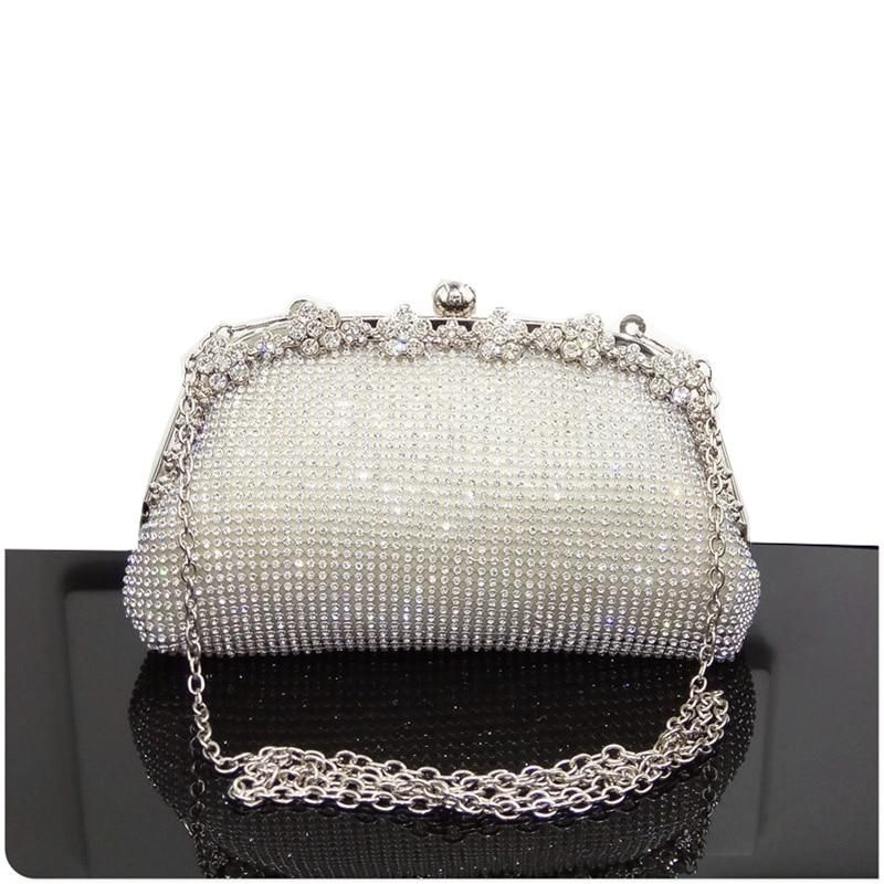 Womens Satin Clutch with Pearl and Diamond Evening Handbag for Party Cocktail Wedding Purse Wallet Bag