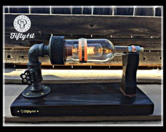 Rustic Desk lamp Rebel Reclaimed wood light Industrail by Fifty1st