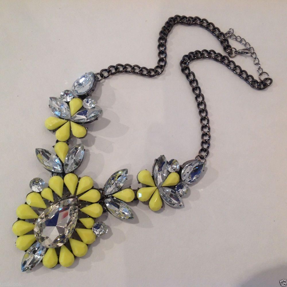 festive Neon Yellow Clear Acrylic Gem Modern Flower Black Chain Necklace Glam #Uniklookbijouxjewelry #Chain