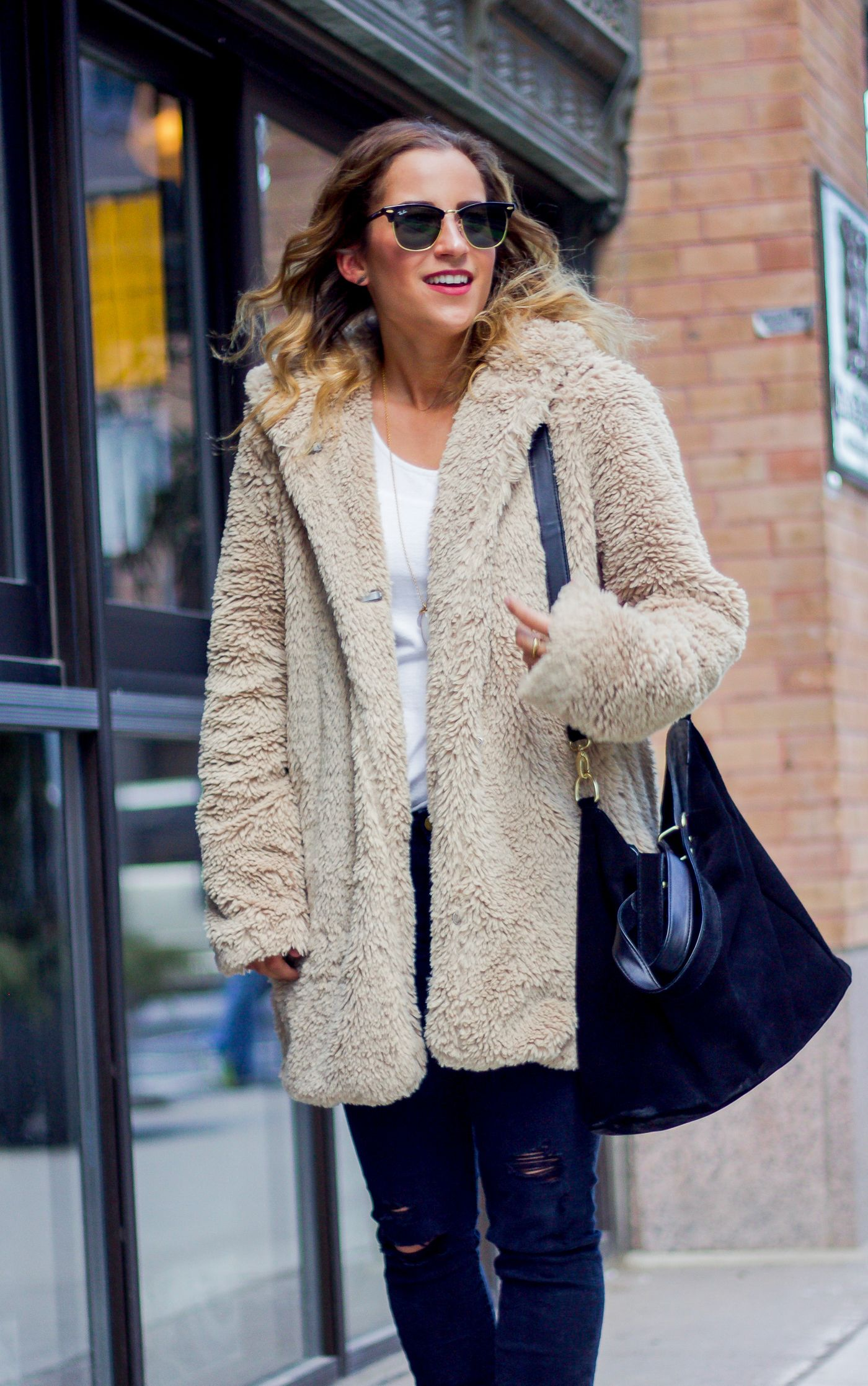 Cozy Sherpa Coat and ECCO Soft 3 High Top Sneakers | Sherpa