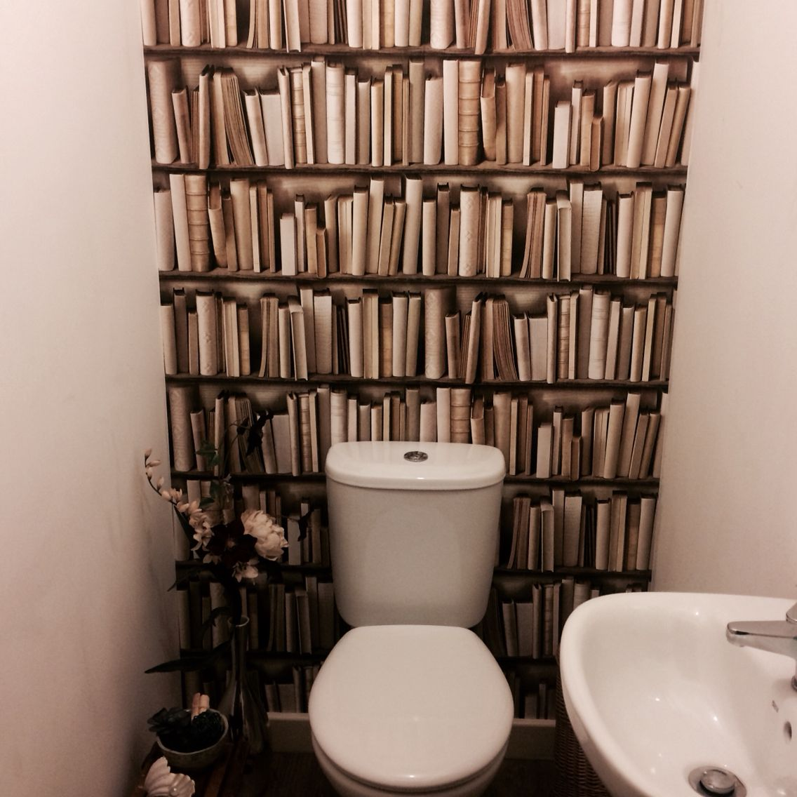 Book wallpaper in our downstairs toilet home decor for Funky bathroom wallpaper ideas