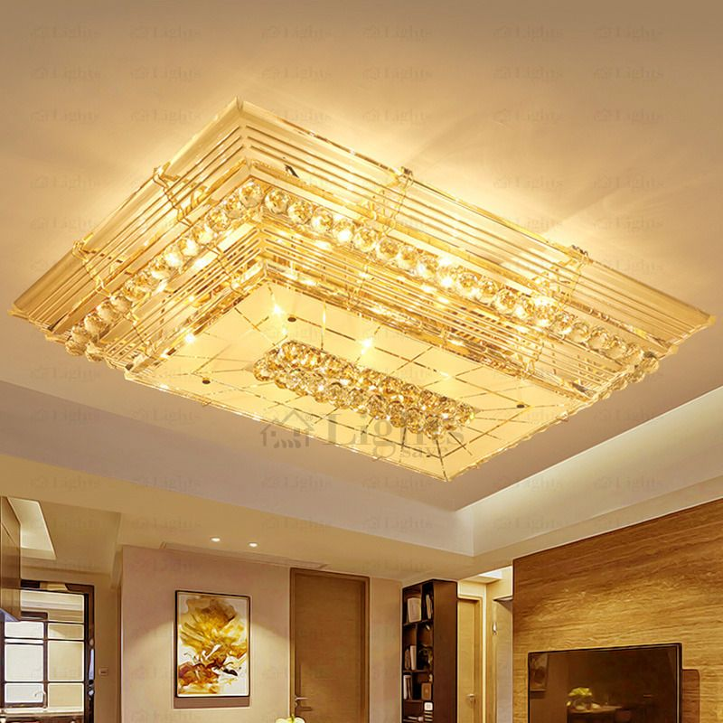 Dramatic E12 E14 Rectangular Shaped Crystal Flush Mount Ceiling