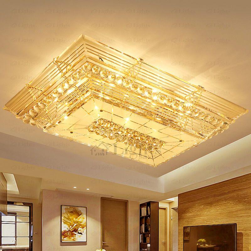 Dramatic E12 E14 Rectangular Luxury Shaped Crystal Flush Mount Ceiling Lights Ceiling Lights Ceiling Flush Mount Ceiling Lights