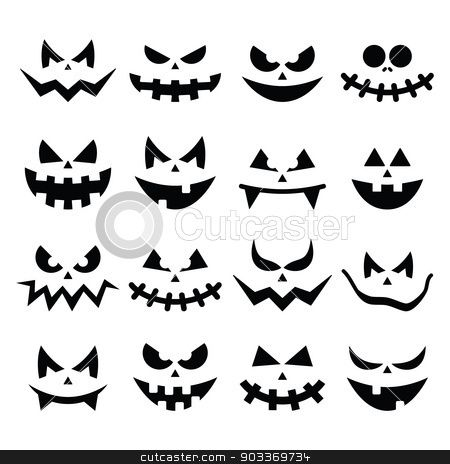 Scary Halloween Pumpkin Faces Icons Set Stock Vector  Pumpkins