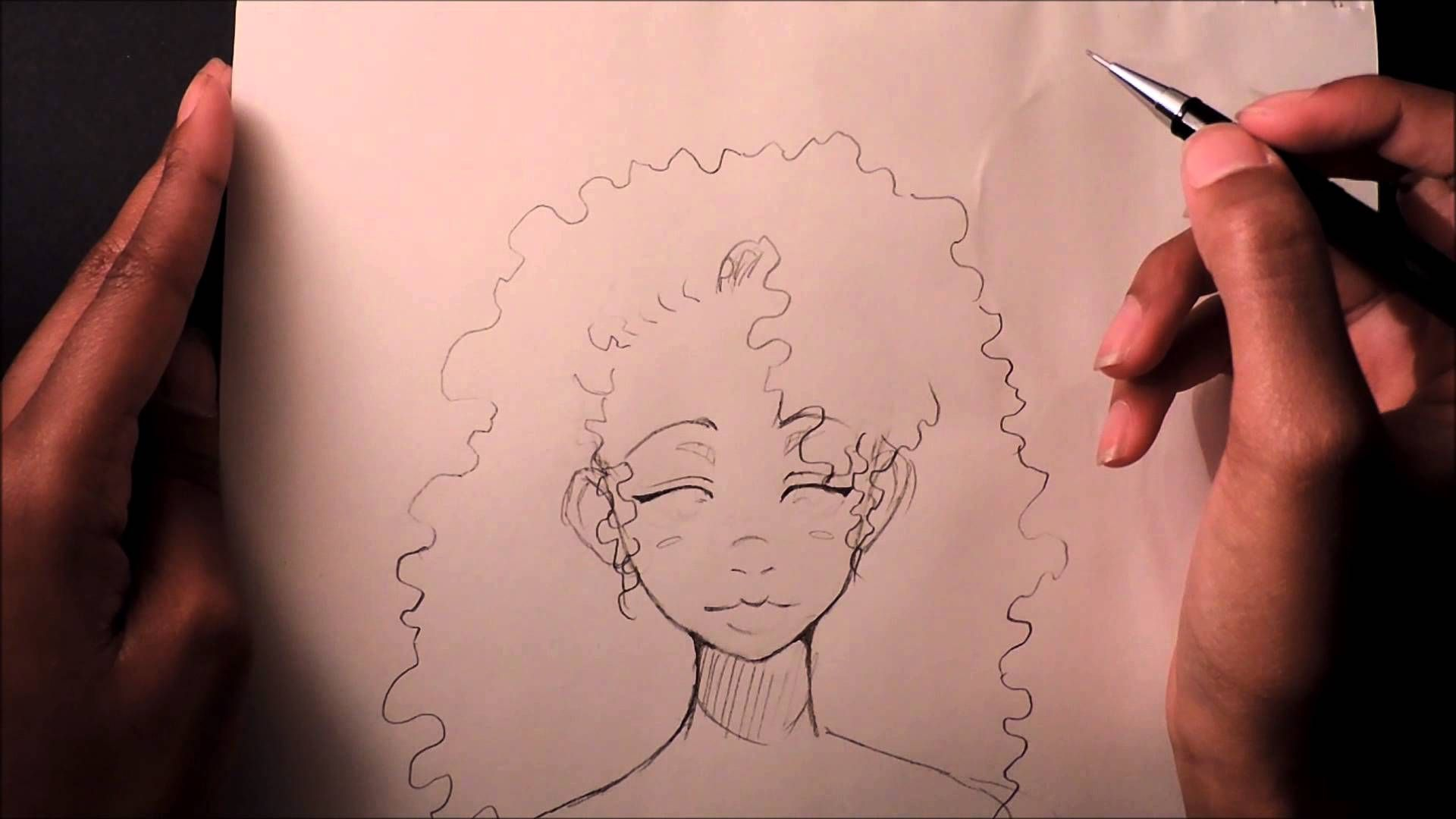 draw curly afro hair pretty