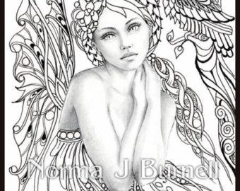Autumn\'s Dreamer - Fairy Tangles Coloring Sheet Fairies Owls Digi ...