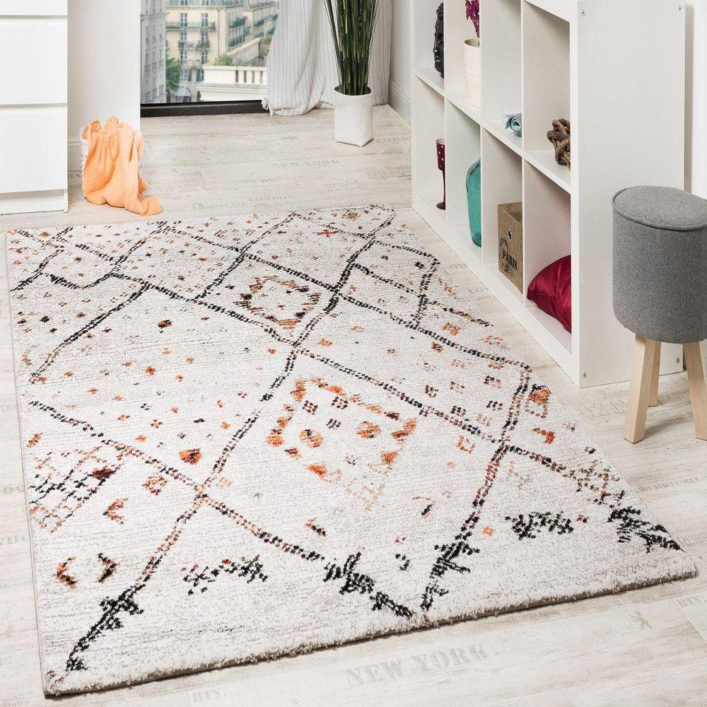 Designer Teppich Modern Nomaden Teppich In Karo Motiv Meliert Creme Orange  Wohn Und Schlafbereich Designer Teppiche