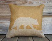 Bear Pillow Cover, Mustard Yellow Burlap Throw Pillow, Decorative Pillow, Cottage Chic, Rustic, Farmhouse 16x16