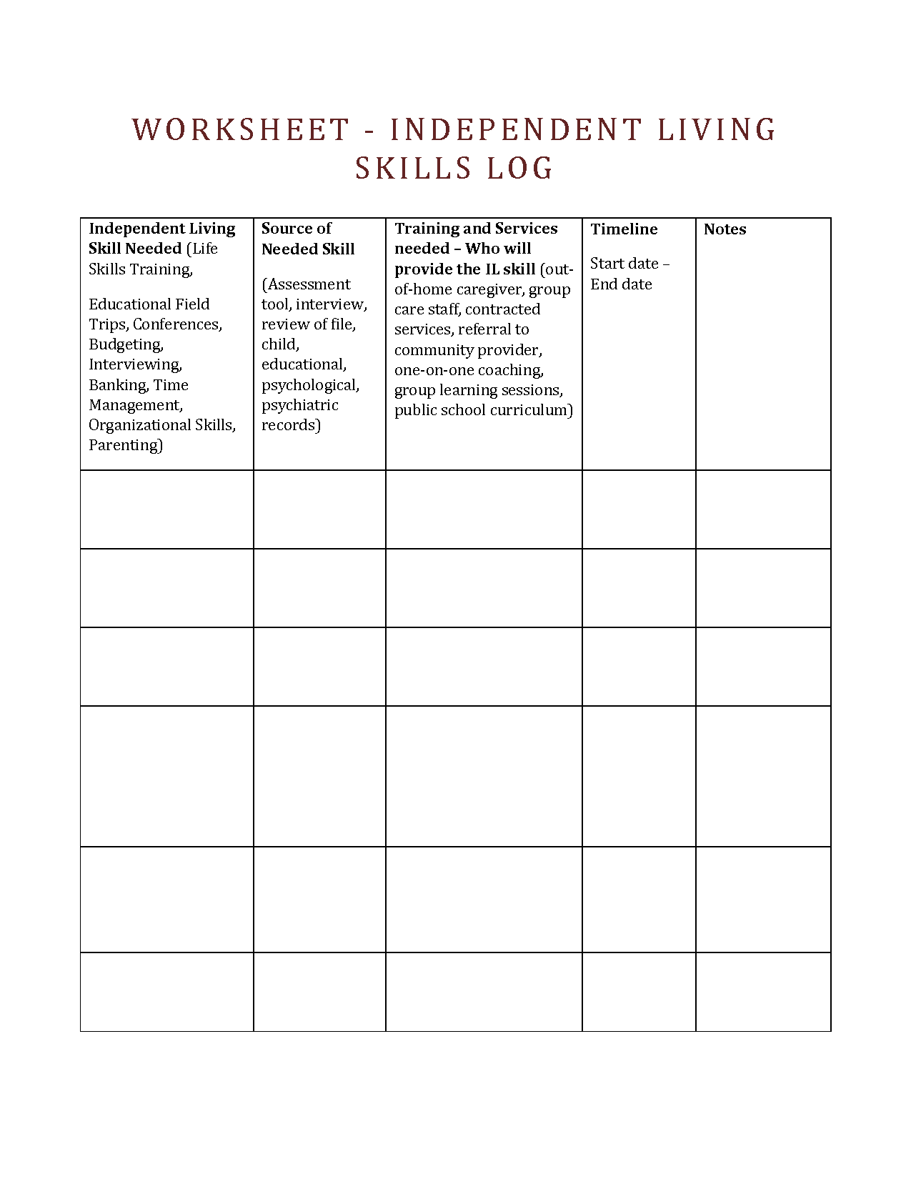 Parenting Skills Worksheets By Ept