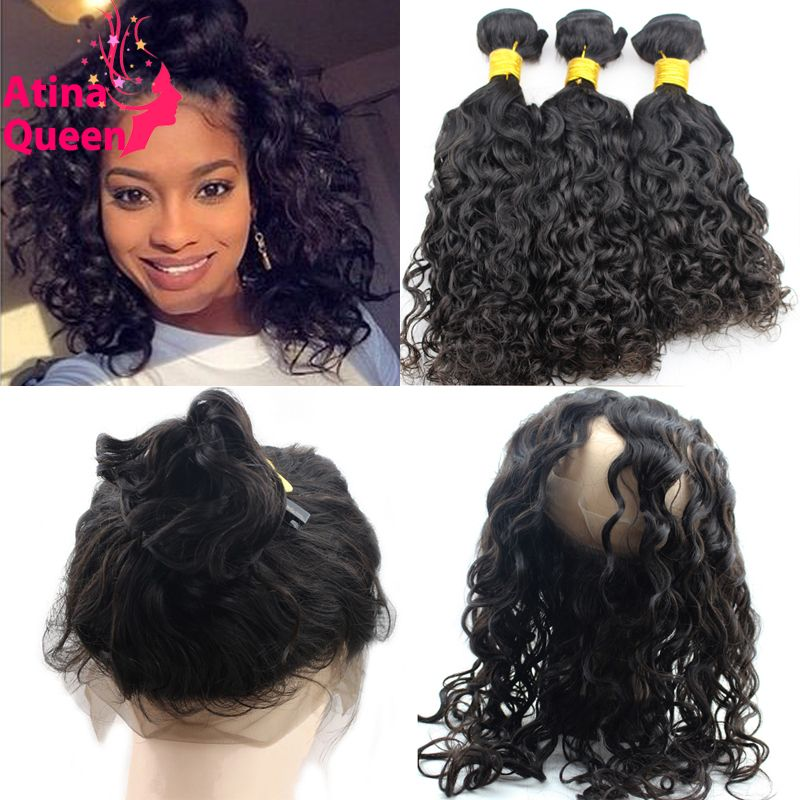 Aliexpress.com   Buy 360 Lace Frontal with Bundle with Baby Hair Pre  Plucked 360 Frontal Band and Water Wave Wavy Virgin Brazilian Hair Weave  Bundles from ... 3393f1b14