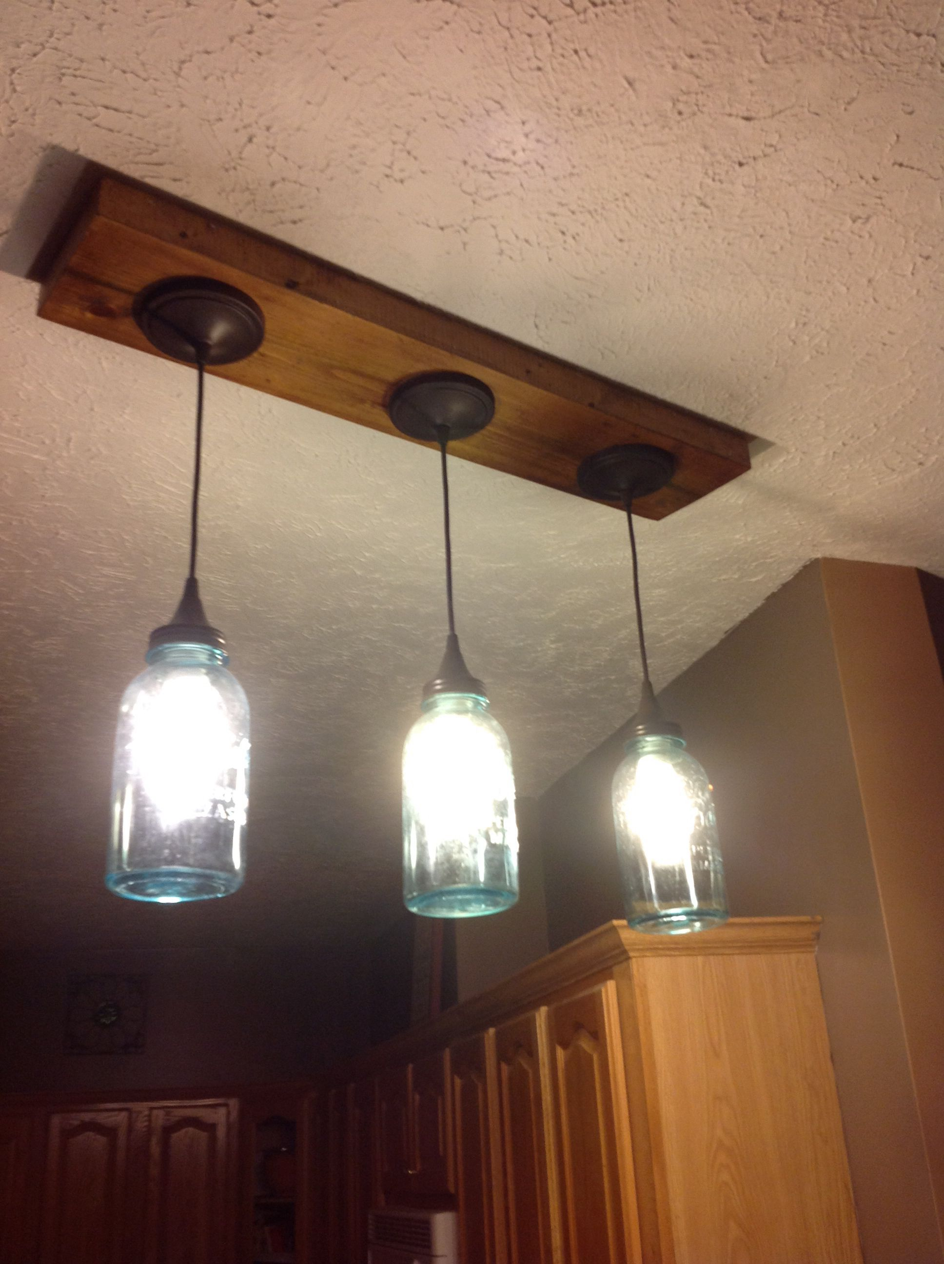 We Replaced Our Track Lighting With Blue Ball Jar Pendant Lights I Had The Idea And Hubby Made It For Me Love Having A Crafty Husband
