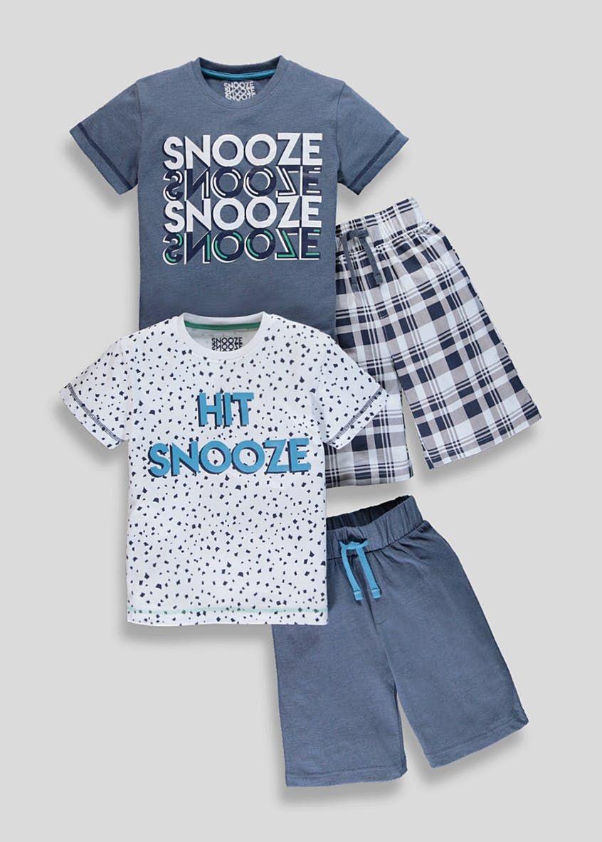 e2403145bec1b Boys 2 Pack Snooze Slogan Pyjamas (4-13yrs) – Navy | Boys Clothes ...