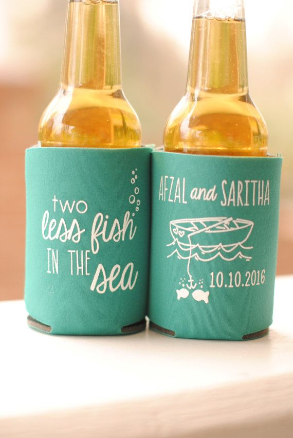 Wedding Favors Koozies Beach Personalized 2 Two Less Fish In The Sea Bridal Can Coolers