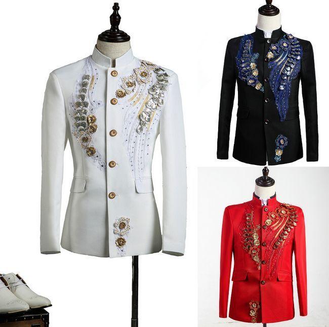 Mens Chinese Tunic Suit Rhinestones Sequins Costume Jackets Blazer Coats  +Pants  Unbranded  Tuxedo e01fad55d09f