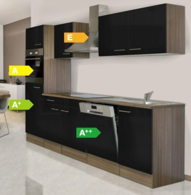 Respekta Küchenzeile KB280EYS 280 cm Schwarz-Eiche York - küchenzeile 240 cm mit geräten