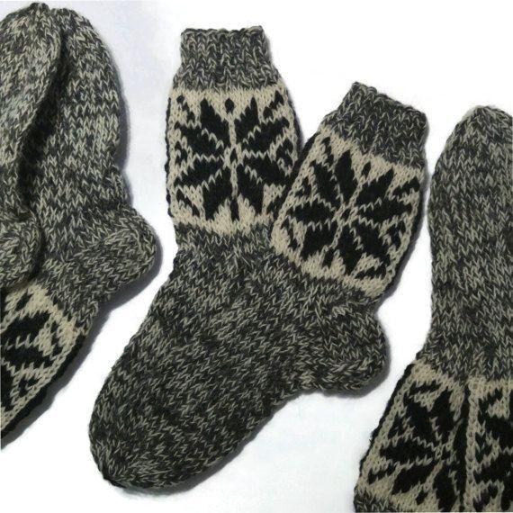 Natural Pure Sheep Wool Hand Made Knitted Socks Wellington Hiking Walking Boots
