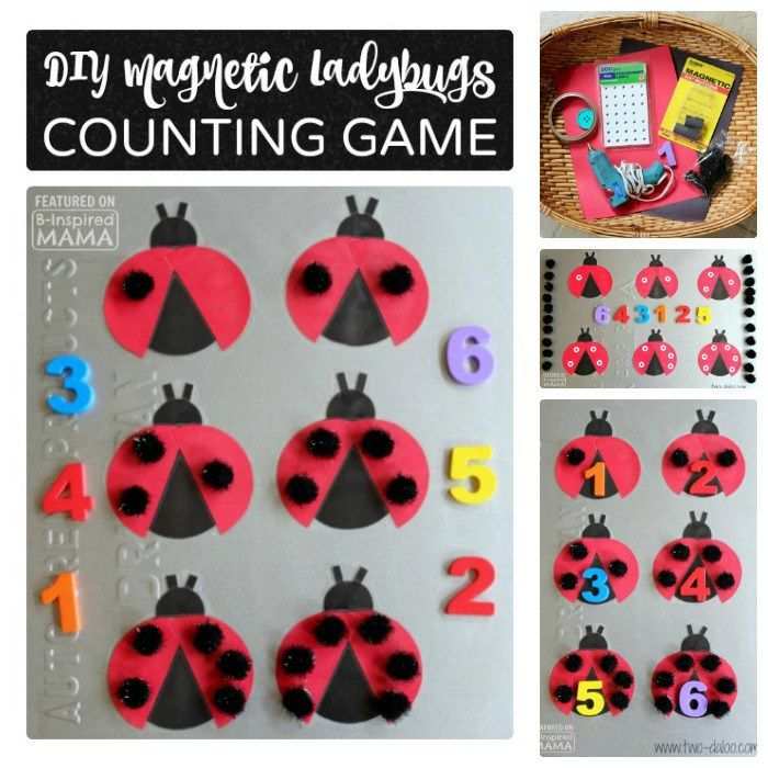 DIY Magnetic Ladybug Counting Game - with Pom-Pom Spots - at B-Inspired Mama