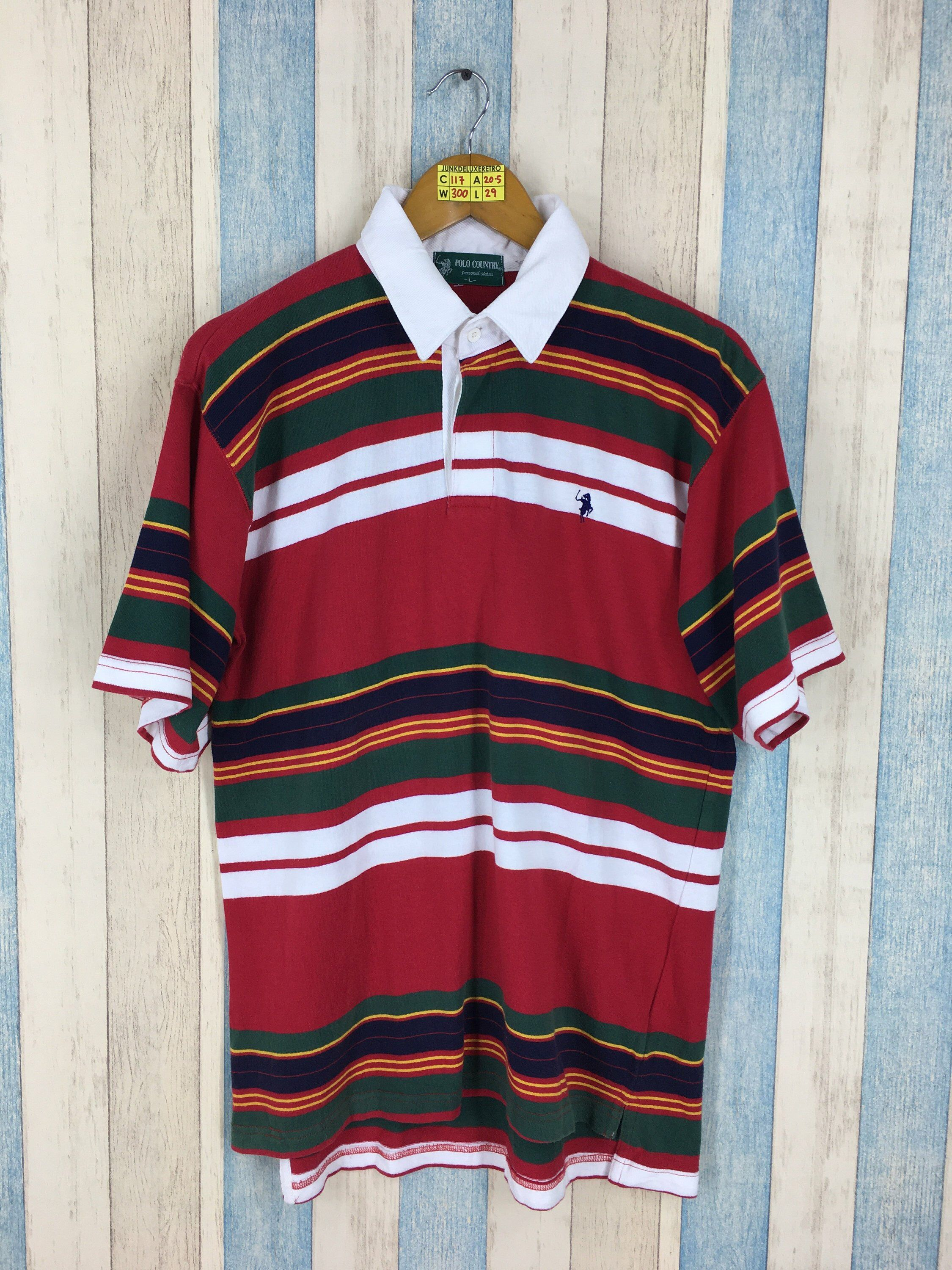 13225b4811 Vintage POLO COUNTRY Stripes Shirt Large Vintage 80's Polo Country  Multicolor Border Stripes Casual | POLO RALPH LAUREN | Shirts, Polo, Mens  tops