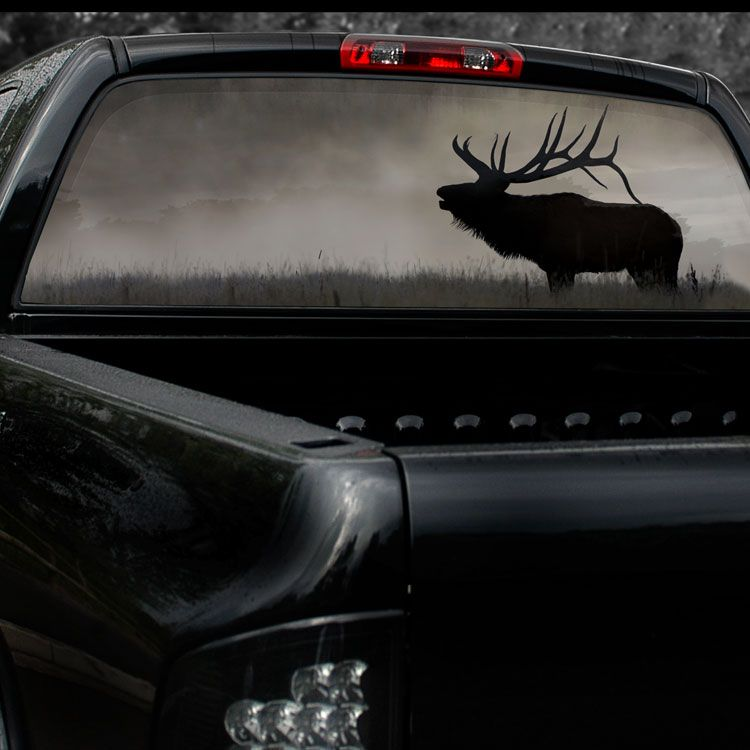 Bull elk see view thru truck full rear window graphics