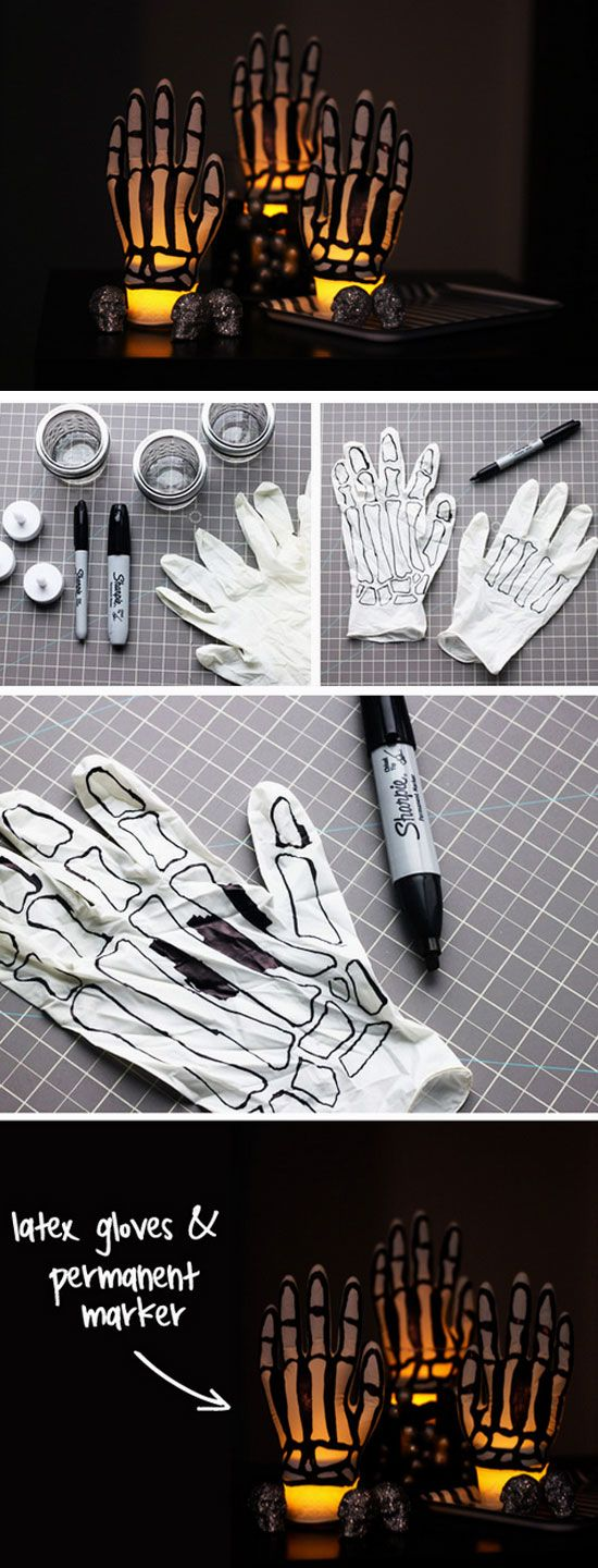 Glowing Skeleton Hands Click Pic for 21 Easy DIY outdoor Halloween - diy outdoor halloween decorations
