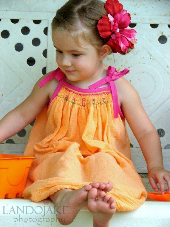 Orange Sherbet monogrammed smocked dress sizes by dayspringdresses