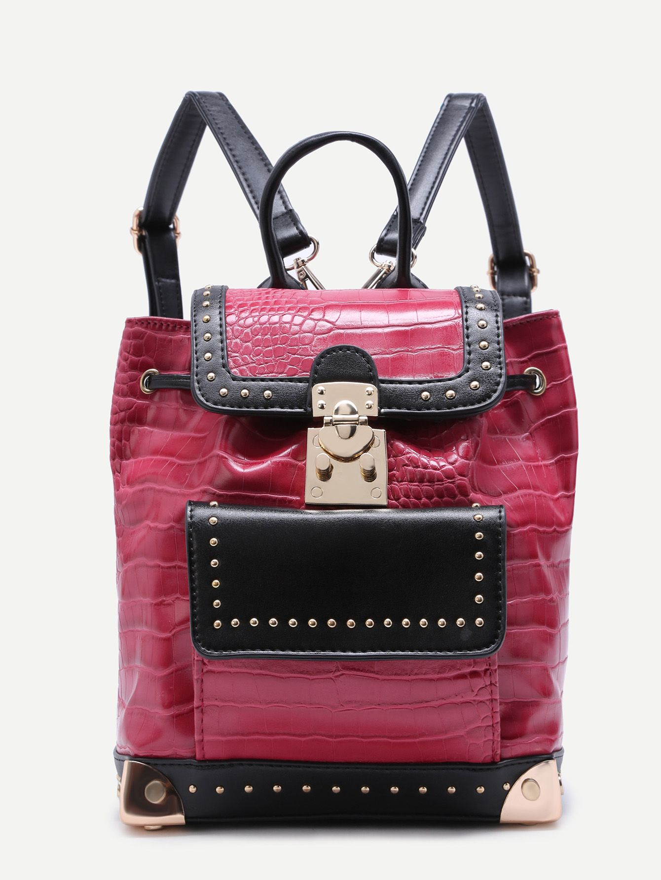 Red Embossed PU Vintage Drawstring Backapck — 0.00 € ------------color: Red size: None