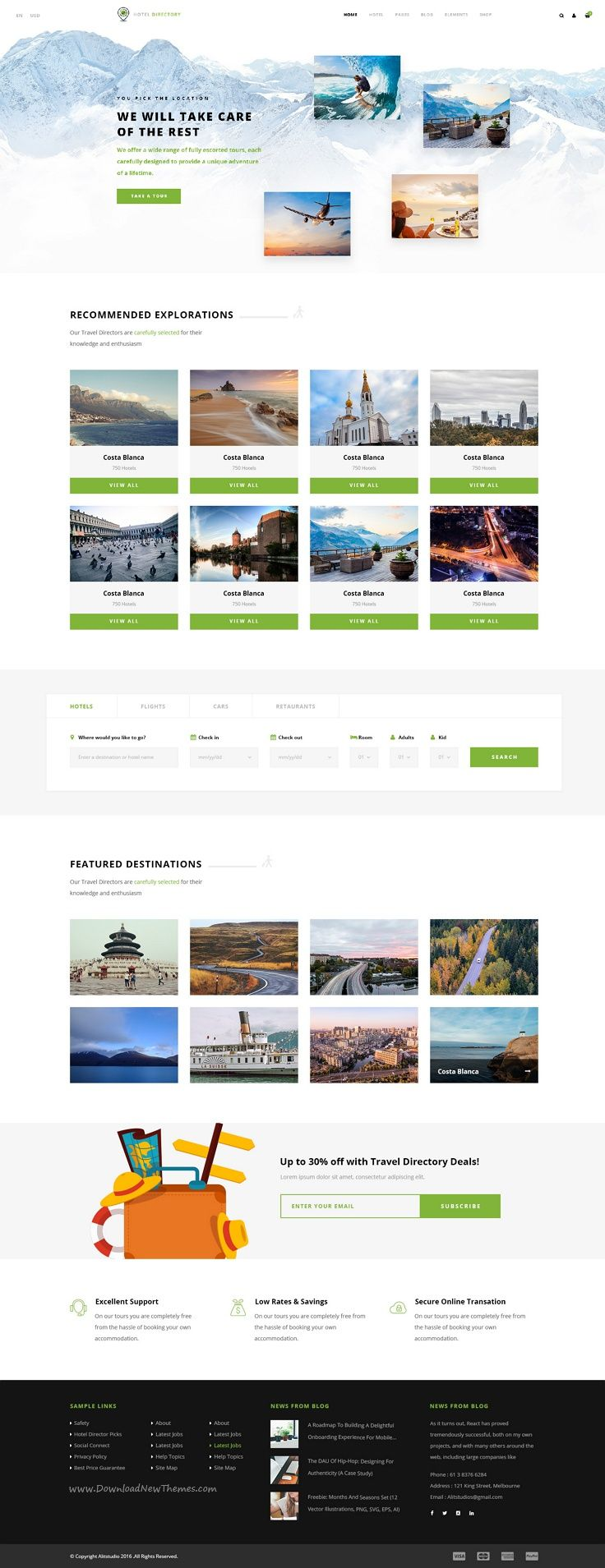 Hotel directory is a modern and perfect psd template for hotel tours and