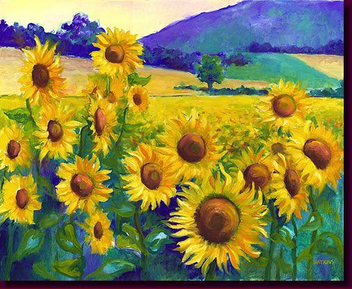 Fleurs De Soleil Flower Painting A Brilliant Contemporary Sunflower Including Bright French Landscapes