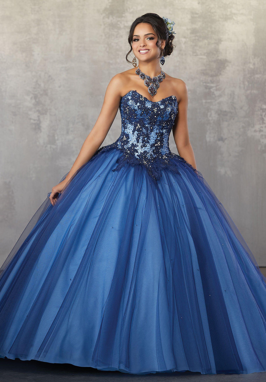 A-Line Lace Bodice Quinceanera Dress by Mori Lee Valencia 60032 ...