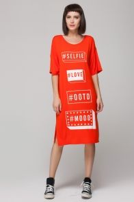 Relaxed dress in letters print