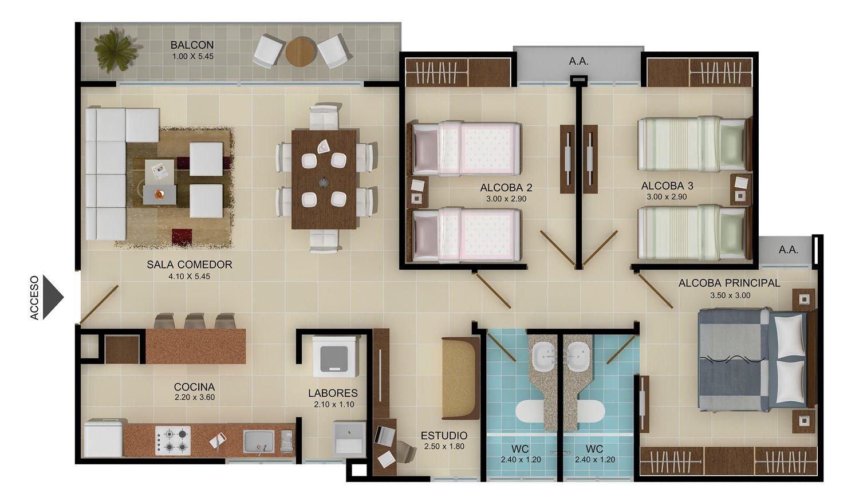 Plantas de apartamentos modernos buscar con google for Apartamentos disenos modernos