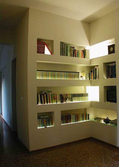 Librera hecha de tablayeso con luz indirecta hecha como - Luz indirecta ...
