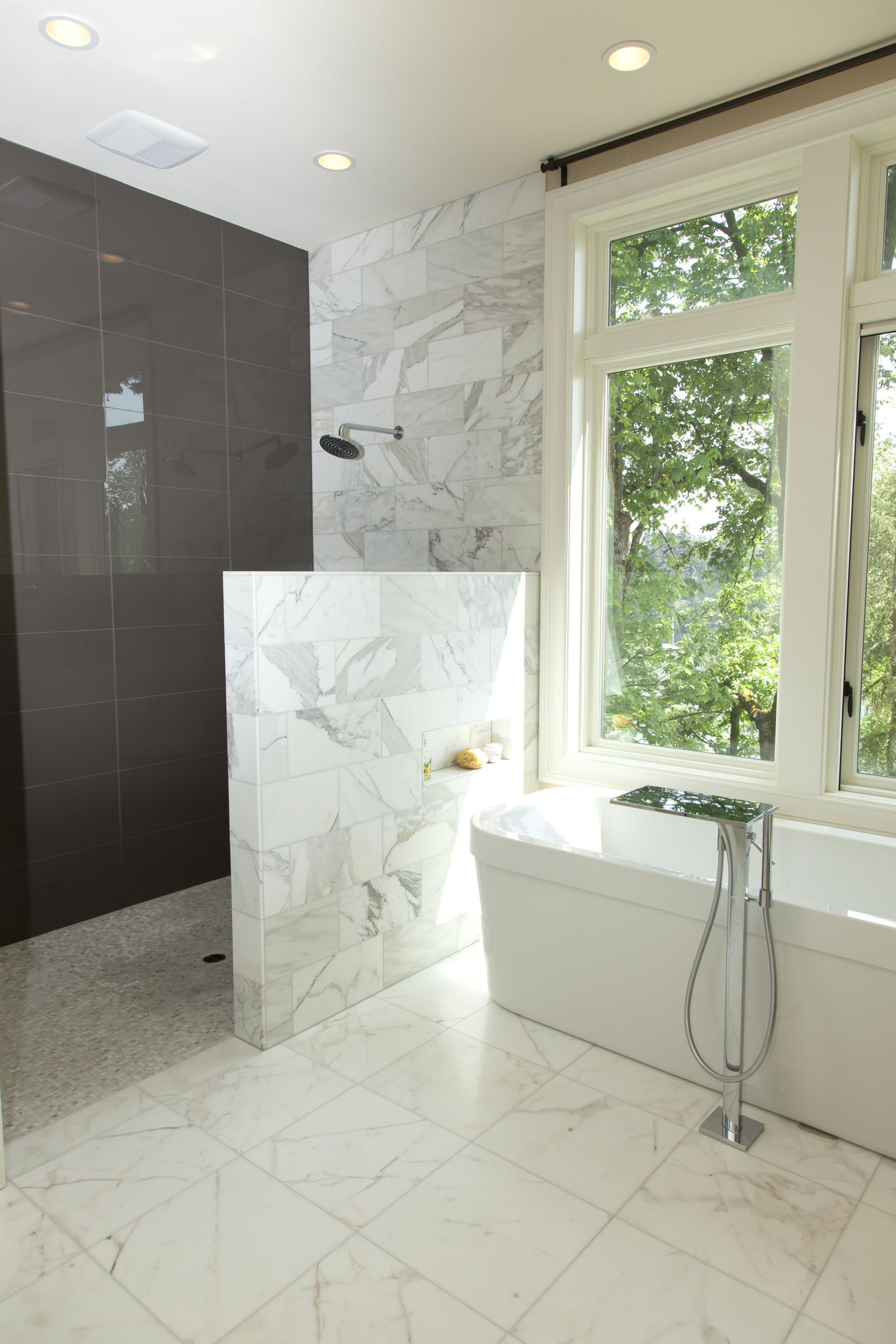 Beautiful Bathroom Design Ideas Using Doorless Shower Bathroom