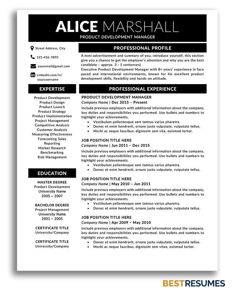 Modern Resume Template Alice Marshall Bestresumes Info Business Resume Template Modern Resume Template One Page Resume Template