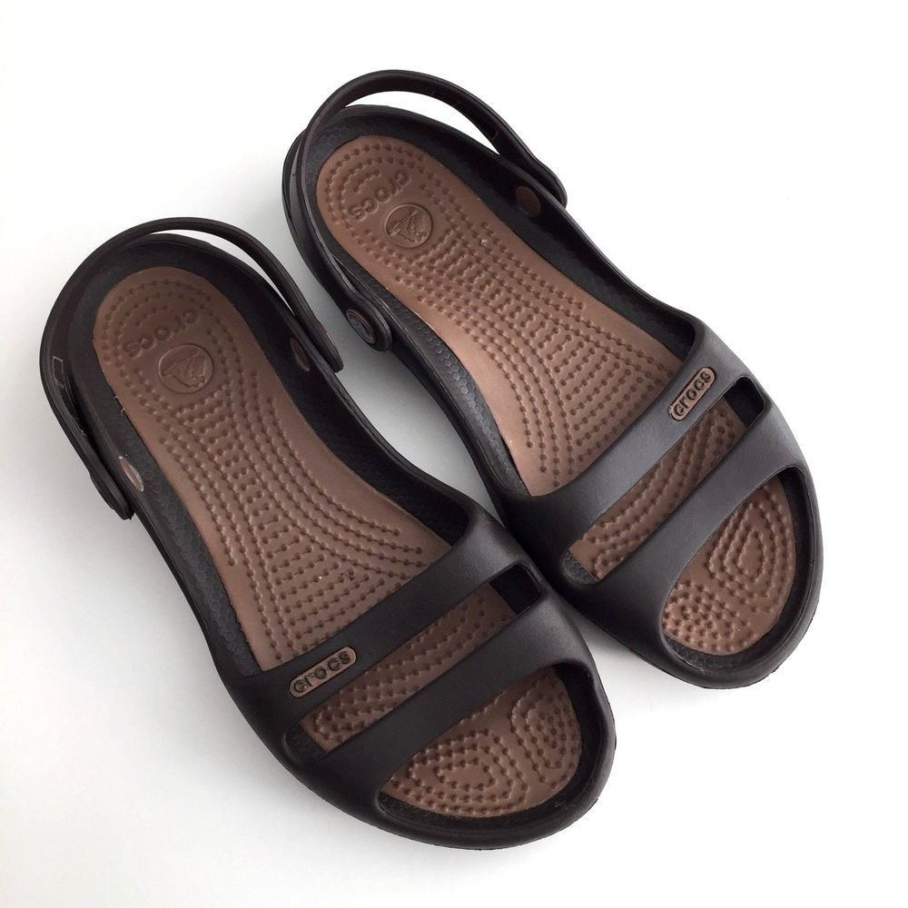 18b3841cc84c Crocs Cleo II Womens Sandals Slides Espresso Brown Sz 6 Slip On  Crocs   Slides  Casual