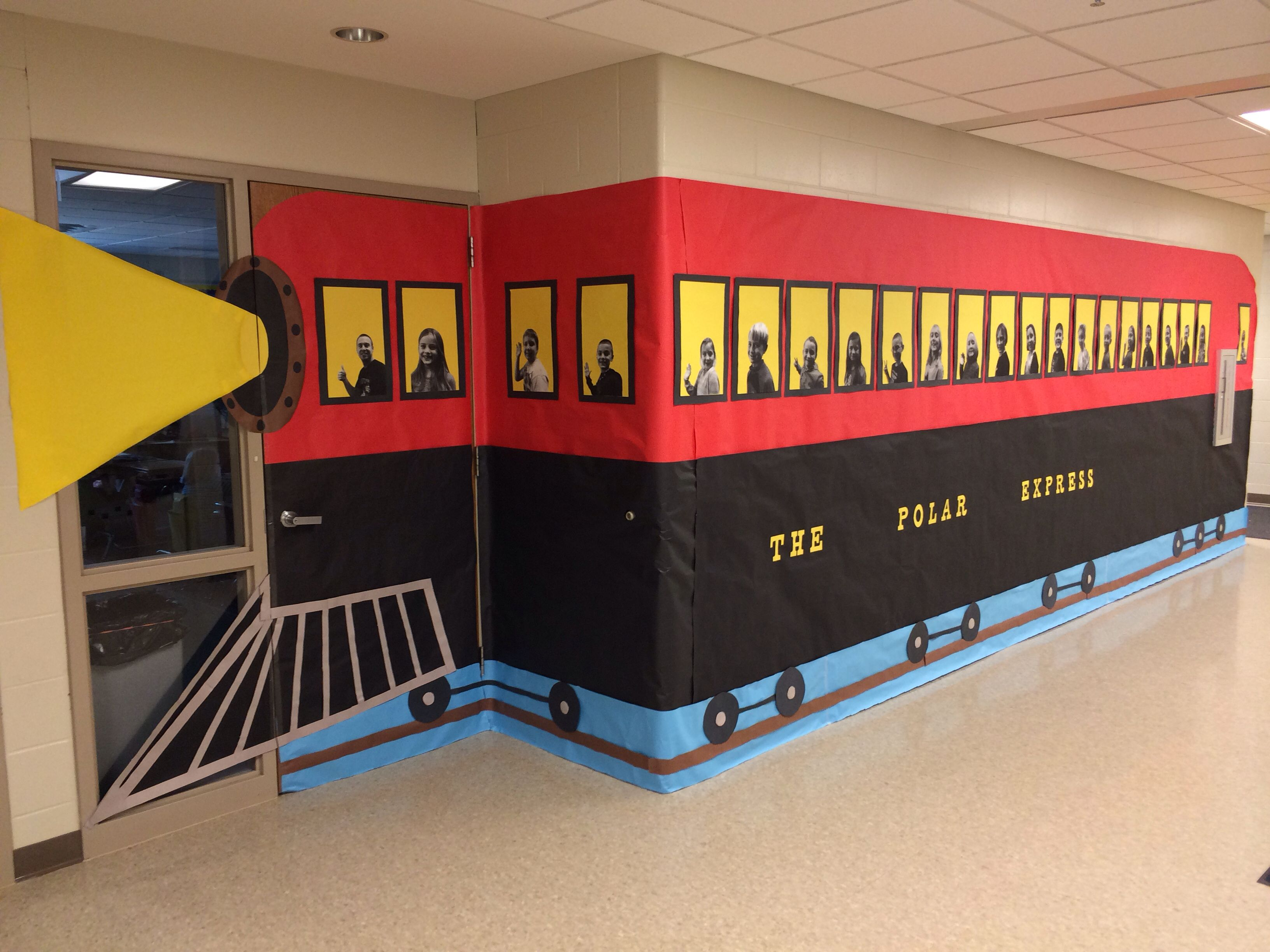 Polar Express Classroom Decoration Ideas ~ I did this polar express for the christmas door decoration