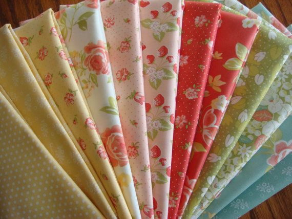 Strawberry  Fields Revisited - Fabric Half Yard Fabric Bundle -  Fabric by Fig Tree from Moda