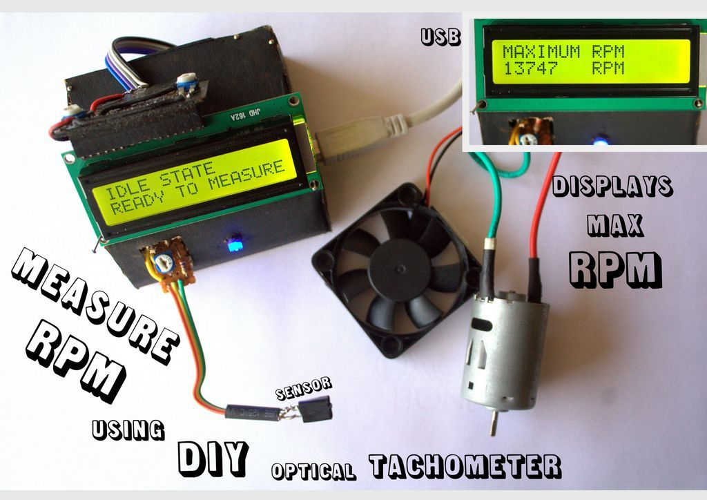 Build A Digital Tachometer Rpm Counter Schematic Pyroelectro