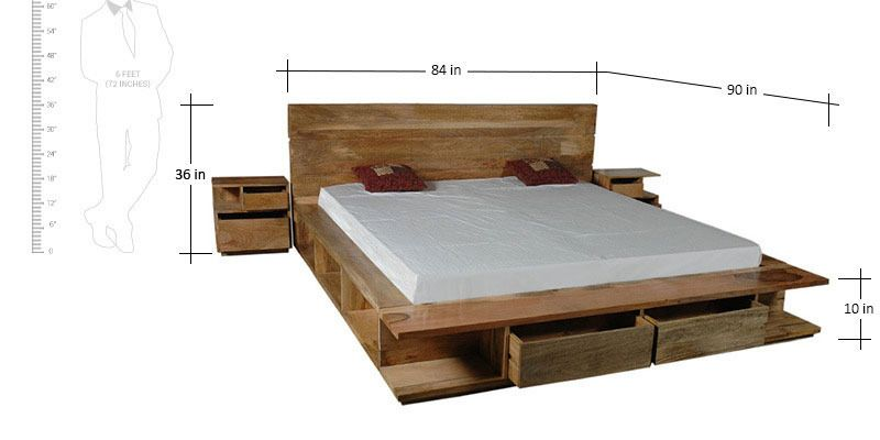 Dayton King Bed With Storage Bedside Tables In Natural Mango