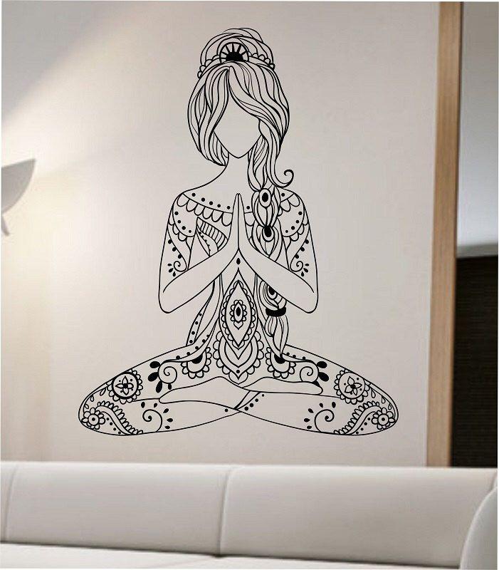 Meditating Yoga Wall Decal Flower Namaste Vinyl Sticker