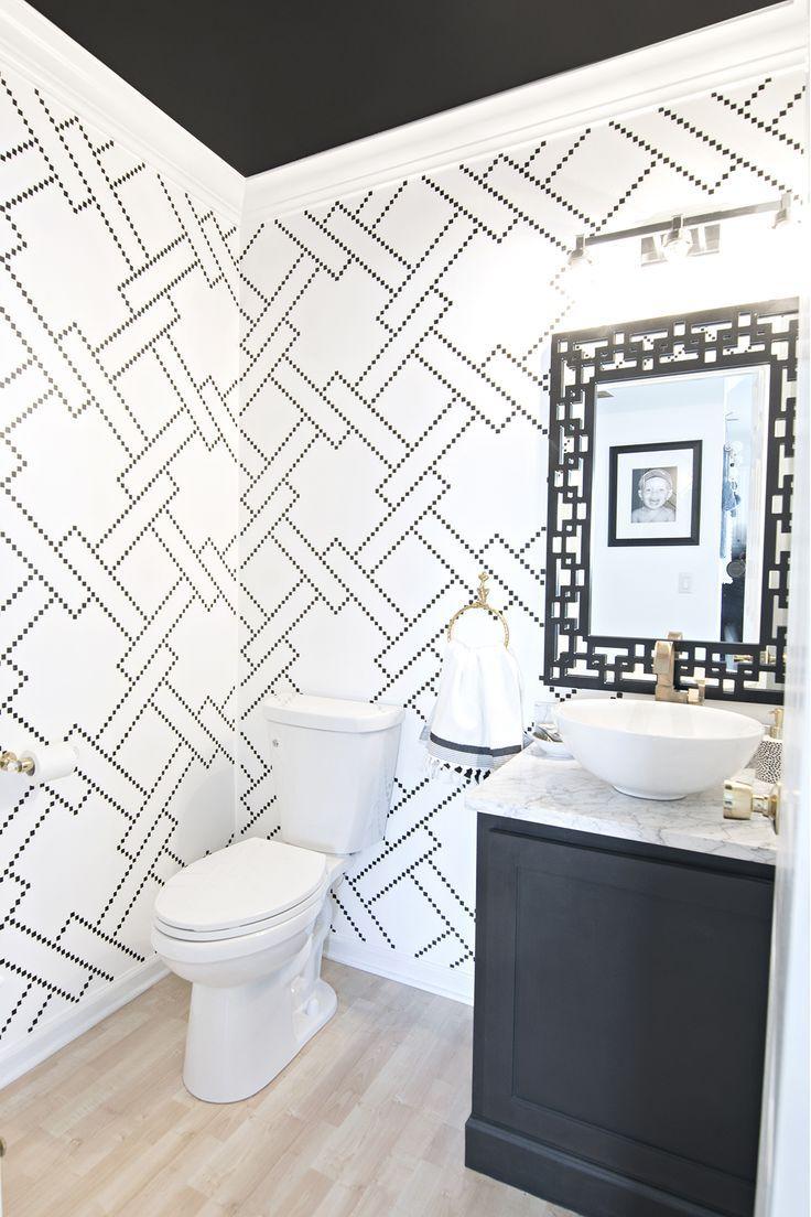 Sharpie stenciled black and white powder room