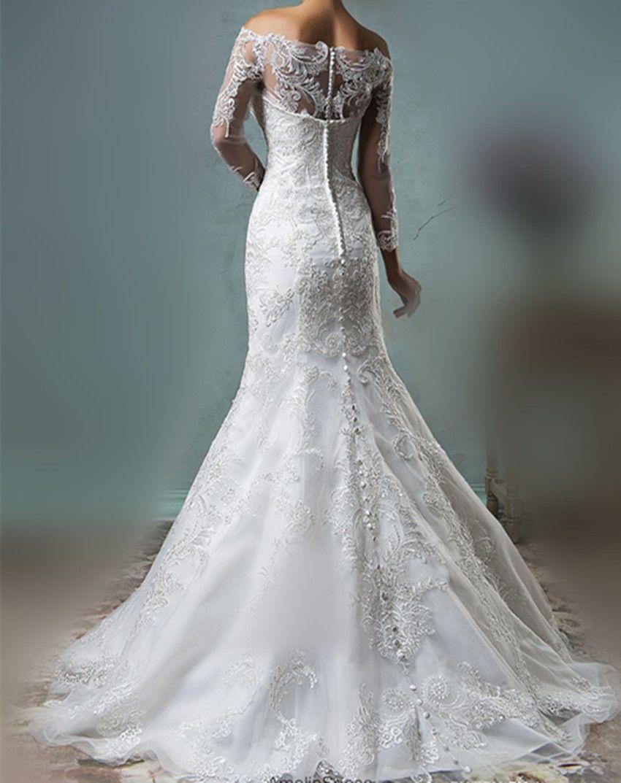 Mermaid wedding dress with detachable train  Full White Ivory Lace Mermaid Wedding Dresses With Detachable Train