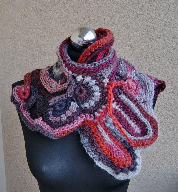 Handmade freeform crochet scarf shawl stole by handmadestreet101 ...