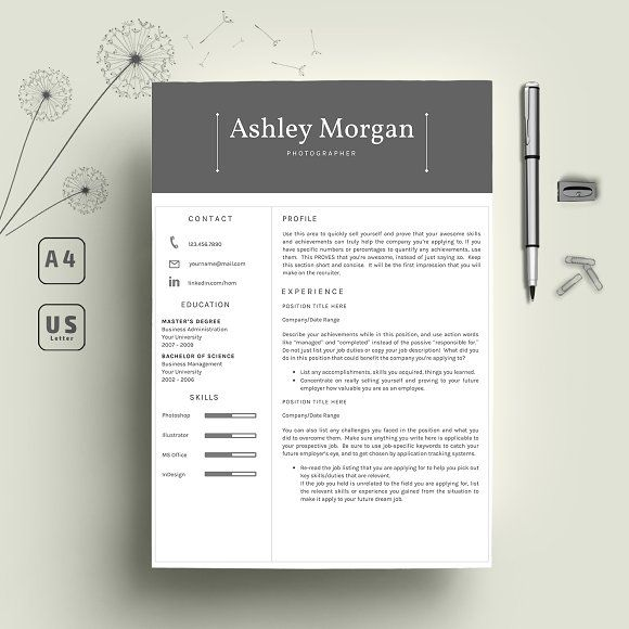 Resume/CV 2 Pages by Indograph on @creativemarket Resumes