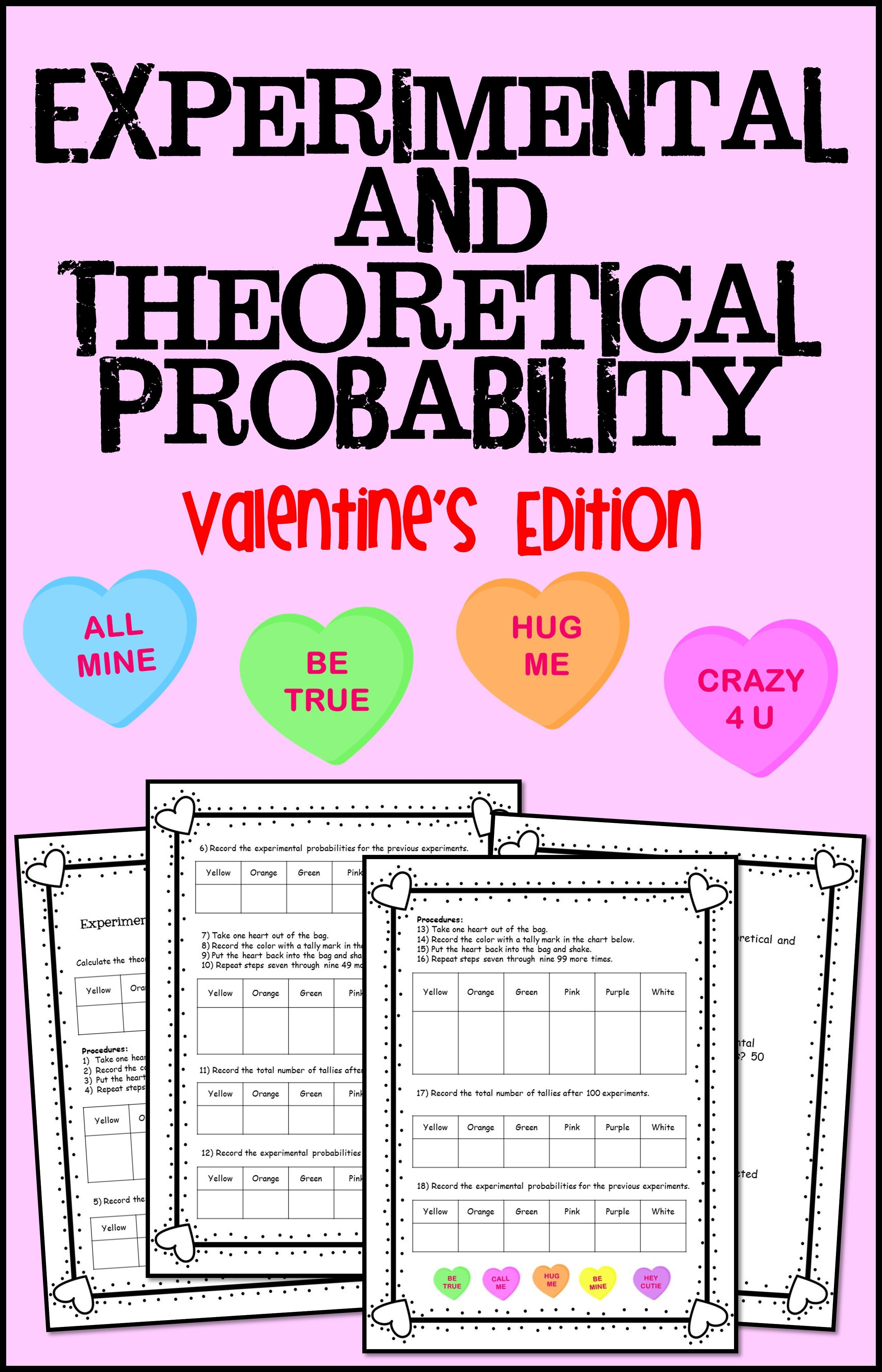 Experimental And Theoretical Probability Valentine S Edition In 2020 High School Math Activities Valentine Math Activities Maths Activities Middle School