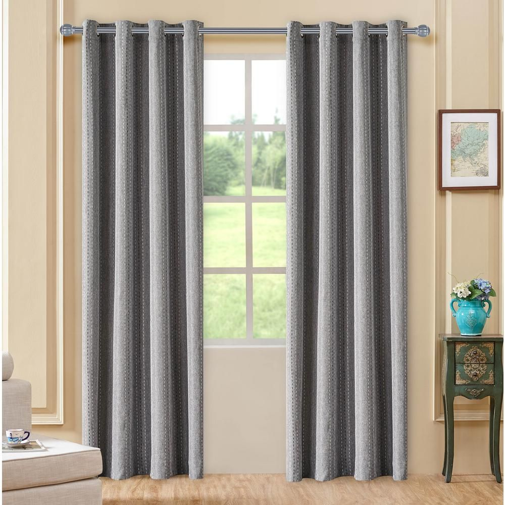 102 Inch Curtains Lyndale Decor Murano Grey Room Darkening Polyester Curtain 102